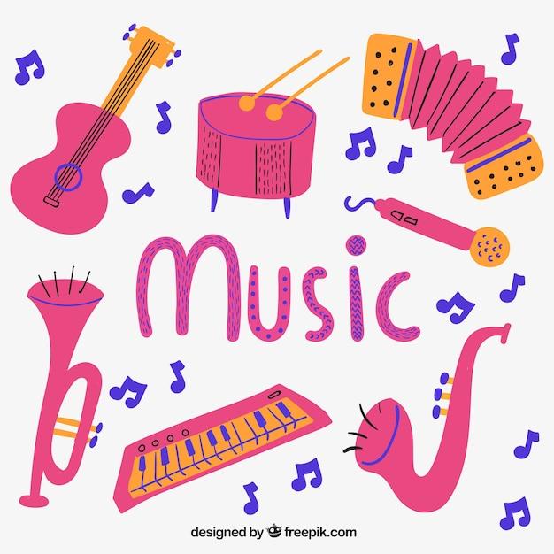 Instrumentos Musicales Rosa Descargar Vectores Gratis