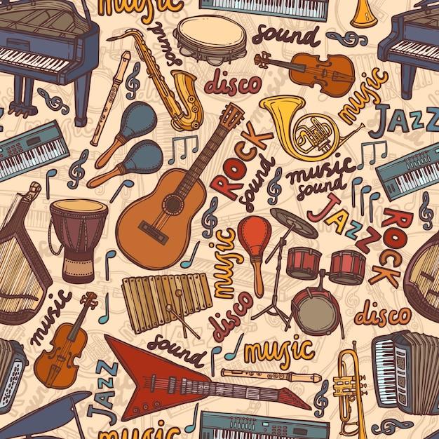 Instrumentos musicales sketch patrón transparente Vector Premium