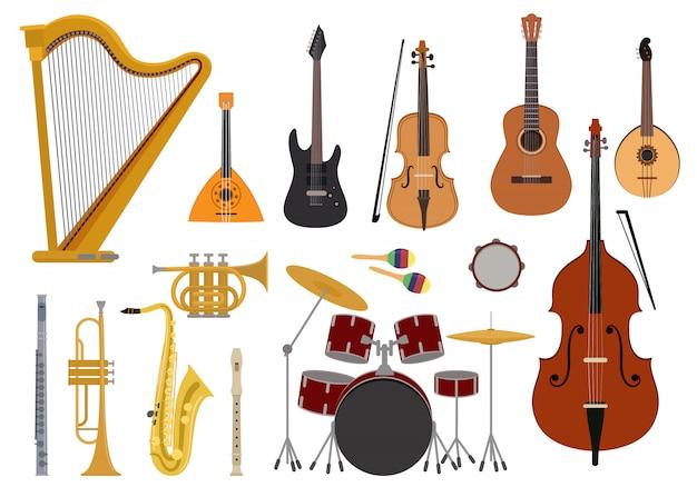 Instrumentos musicales vector concierto de música con guitarra acústica balalaika y músicos violín arpa ilustración conjunto instrumentos de viento trompeta flauta de saxofón aislado en pentecostés Vector Premium