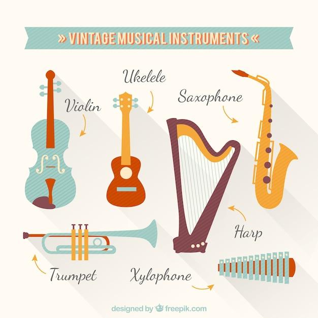 Instrumentos musicales vintage vector gratuito
