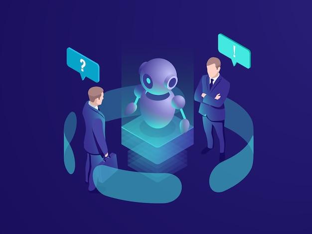 Inteligencia artificial ai robot da recomendación, humano recibe respuesta automatizada vector gratuito