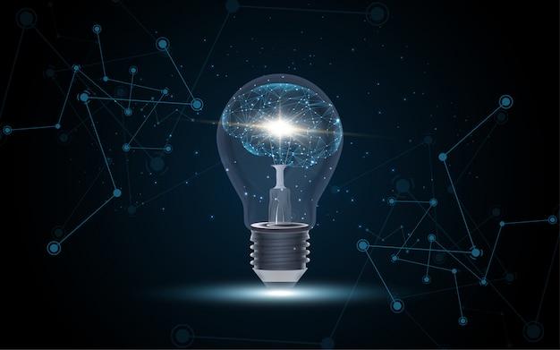 Inteligencia artificial cerebro humano dentro de bombilla. Vector Premium