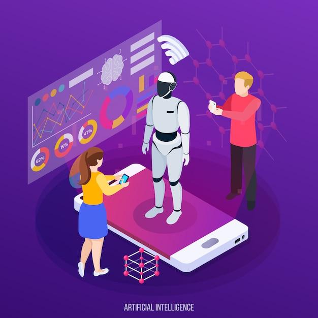 Inteligencia artificial composición isométrica personajes humanos y robot en la pantalla del dispositivo móvil en púrpura vector gratuito