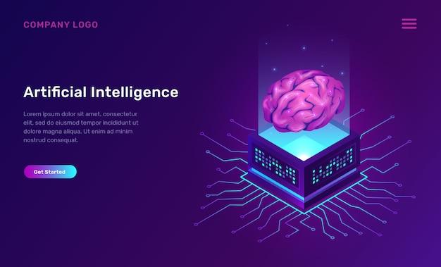 Inteligencia artificial o concepto isométrico ai vector gratuito
