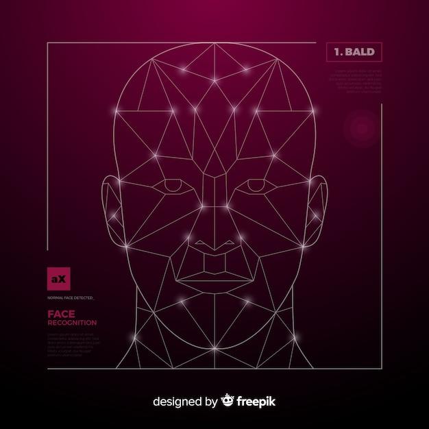 Inteligencia artificial reconocimiento facial vector gratuito