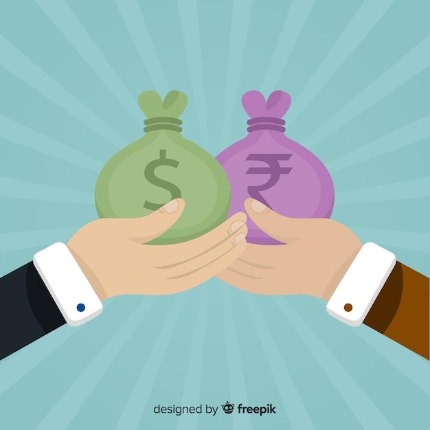 Intercambio de bolsas de rupias indias vector gratuito