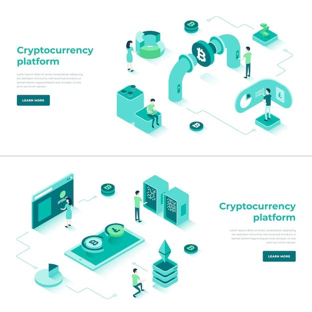 Intercambio de criptomonedas y composición isométrica de blockchain. Vector Premium