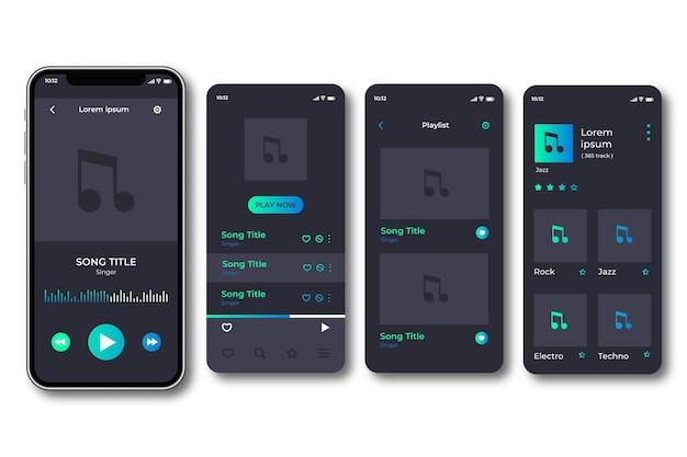 Interfaces de la aplicación del reproductor de música vector gratuito