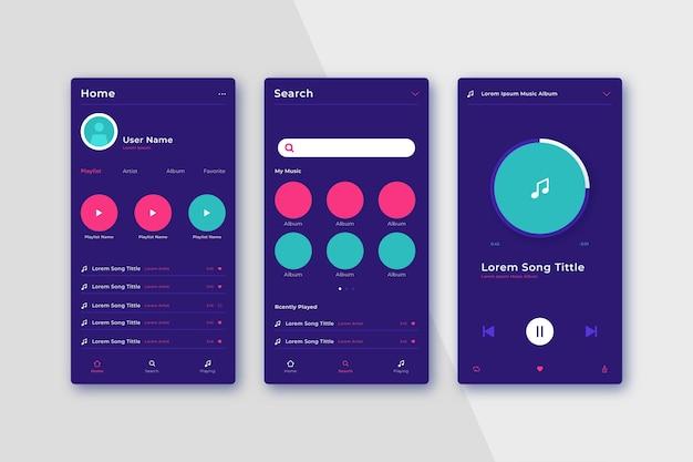 Interfaz amigable con la aplicación del reproductor de música vector gratuito
