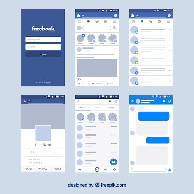 Interfaz de la aplicación de facebook con diseño minimalista vector gratuito
