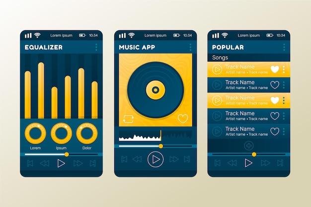 Interfaz de la aplicación del reproductor de música vector gratuito