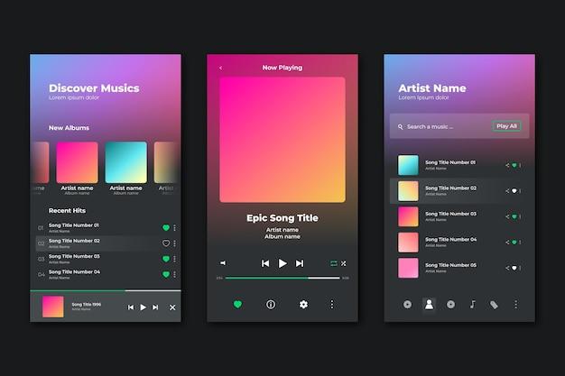 Interfaz de la aplicación reproductor de música vector gratuito
