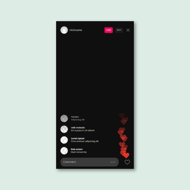 Interfaz de aplicación de transmisión en vivo de instagram vector gratuito