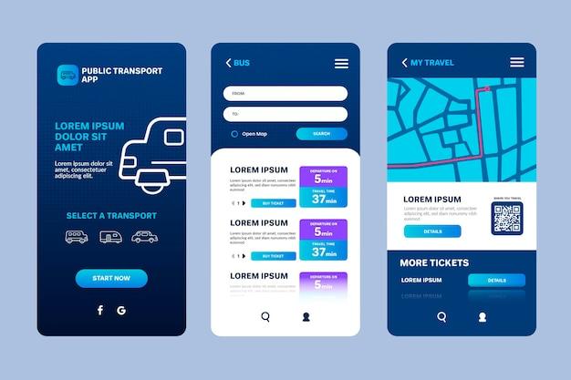 Interfaz de la aplicación de transporte público Vector Premium