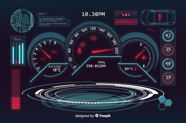 Interfaz futurística holográfica de un coche vector gratuito