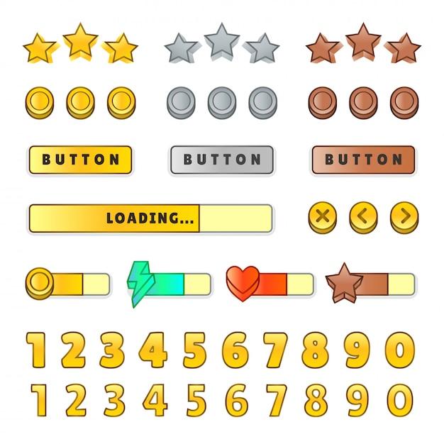 Interfaz gráfica de usuario del juego gui. diseño, botones e iconos. juego ui kit ilustración aislado Vector Premium