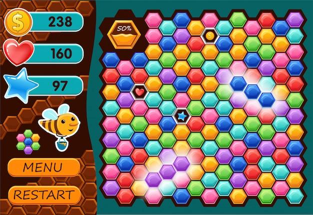 Interfaz de juego de computadora con abeja. Vector Premium