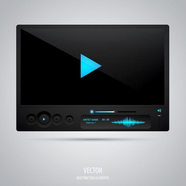 Interfaz del reproductor multimedia. Vector Premium