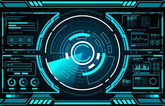 Interfaz de tecnología de círculo hud Vector Premium