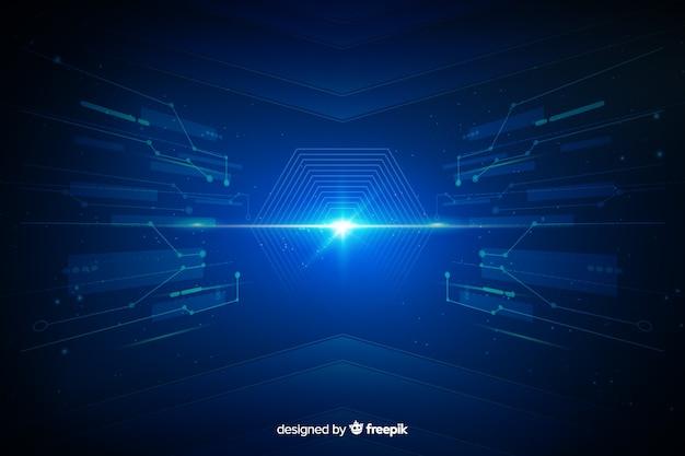 Interfaz tecnológica túnel de luz de fondo vector gratuito