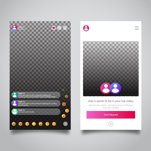 Interfaz de transmisión en vivo de instagram vector gratuito