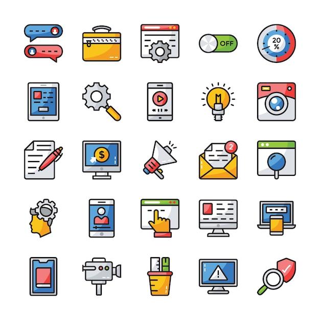 Interfaz de usuario colección de iconos planos Vector Premium