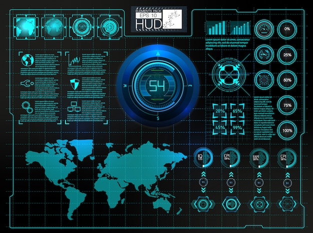 Interfaz de usuario futurista. fondo exterior de hud. elementos de infografía. Vector Premium