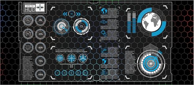 Interfaz de usuario futurista. hud ui. interfaz de usuario táctil gráfica virtual abstracta. infografía de coches resumen de ciencia. ilustración. Vector Premium