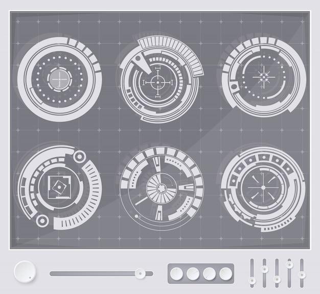Interfaz de usuario táctil futurista de fondo hud. Vector Premium
