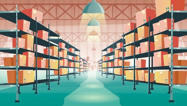 Interior del almacén con cajas de cartón en estanterías vector gratuito