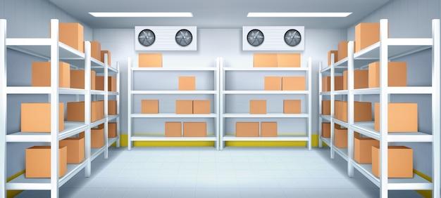 Interior de almacén con cajas en racks. vector gratuito
