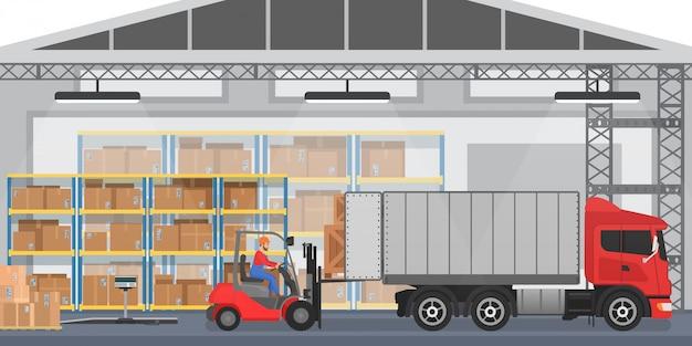 Interior del almacén con trabajadores arreglando cajas de mercancías en un camión. almacén moderno interior wirh camión de carga Vector Premium