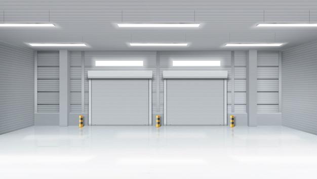 Interior del almacén vacío con puertas antivuelco shatter vector gratuito