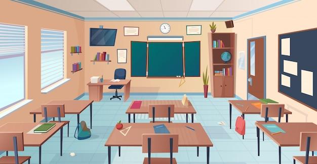 Interior del aula aula de la escuela o la universidad con escritorios artículos de maestro de pizarra para ilustración de dibujos animados de lección Vector Premium