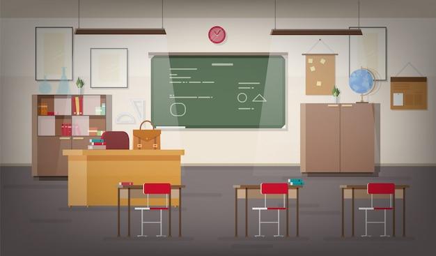 Interior del aula de la escuela con pizarra de pared verde, lugar para el maestro, luces colgantes, escritorios, sillas y otros muebles para estudiar y enseñar. Vector Premium