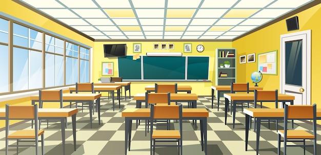 Un interior de aula de la escuela vacía con una pizarra en la pared amarilla y escritorios en el piso a cuadros Vector Premium