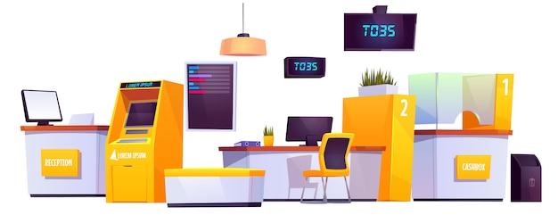 Interior del banco con cajero automático, cajero automático vector gratuito