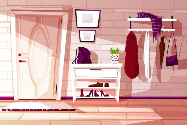 Interior de casa de dibujos animados, pasillo con muebles - estante, perchero y perchas con ropa. vector gratuito