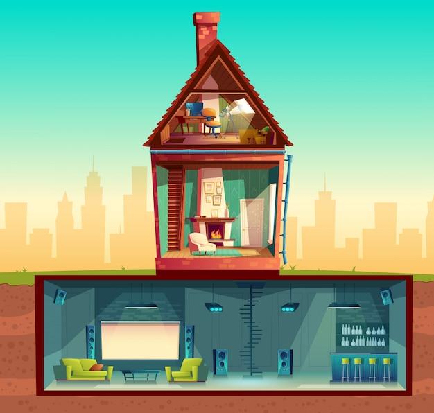 Interior de la casa en la sección transversal, sala de estar de dibujos animados. ático con observatorio. vector gratuito