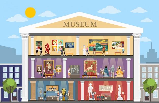 Interior de la ciudad museo con habitaciones y visitantes. Vector Premium