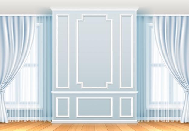 Interior clásico pared blanca con molduras y ventana. decoración de vector vintage de sala de hogar Vector Premium