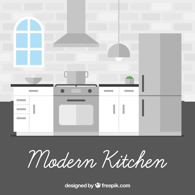 Interior de cocina moderna en diseño plano   Descargar Vectores gratis