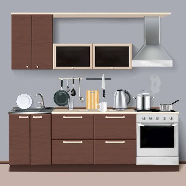 Interior de cocina realista vector gratuito