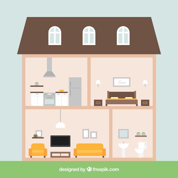 Interior De Casa Con Habitaciones En Dise O Plano