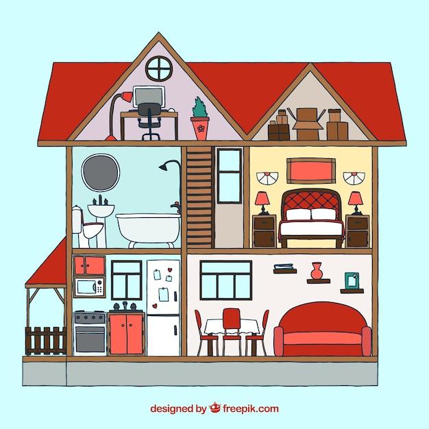 Interior de casa con muebles dibujados a mano descargar for Disegnare interni