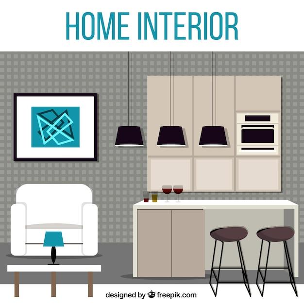 Interior de casa moderna descargar vectores gratis for Casa moderna vector