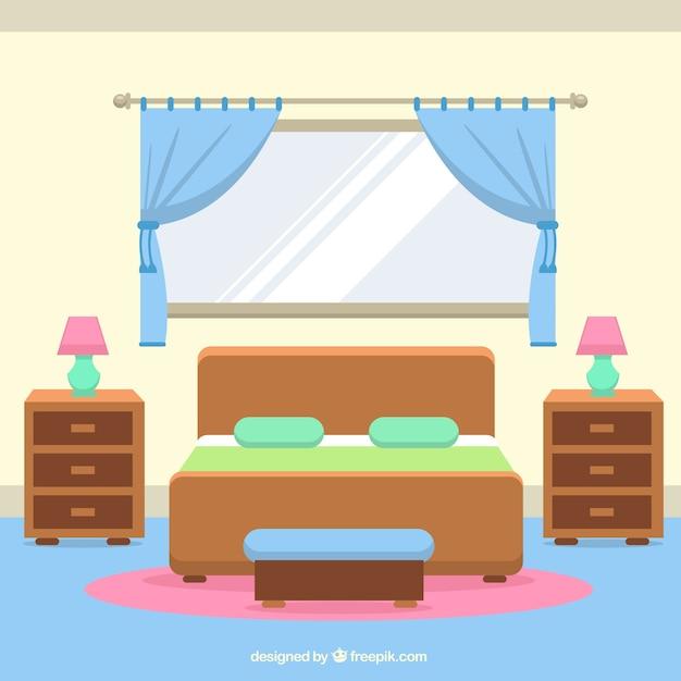 Interior de habitaci n con ventanas y cortinas descargar for Dormitorio animado