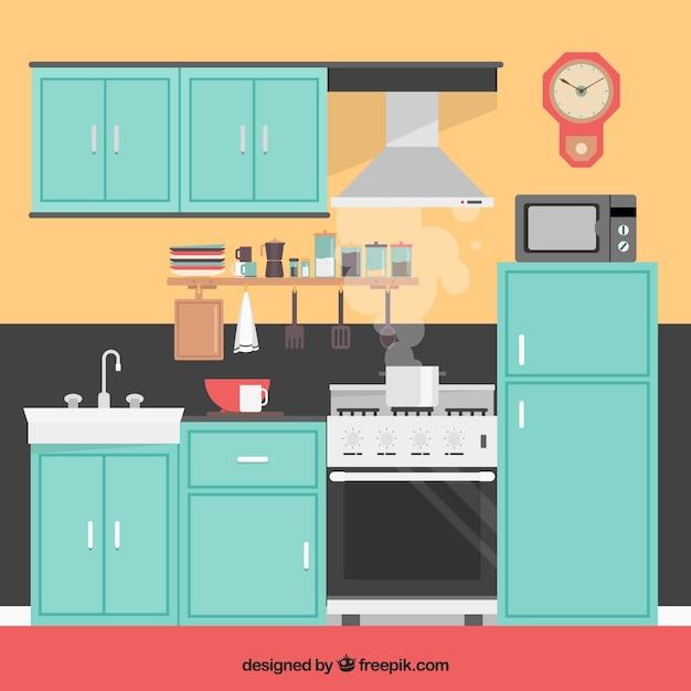 Interior de la cocina ilustraci n descargar vectores gratis for Programas de dibujo de cocinas gratis