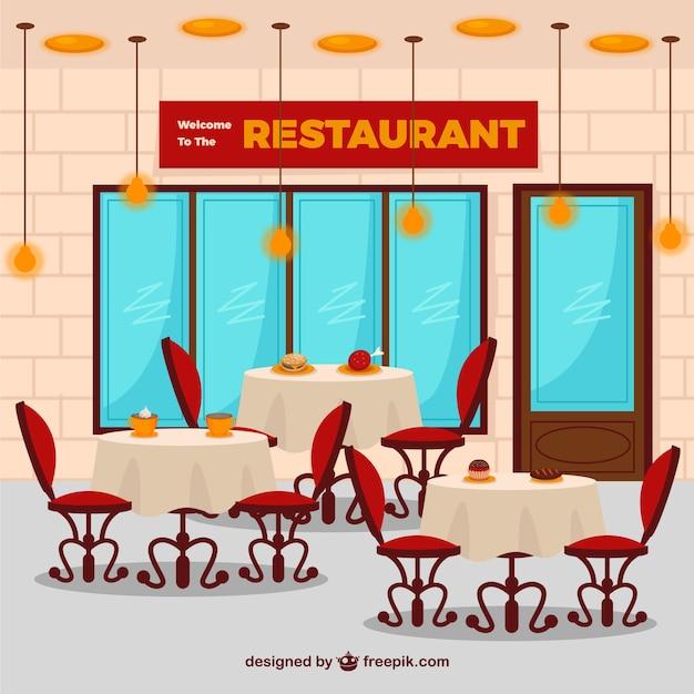 Interior de restaurante plano descargar vectores gratis for Plano restaurante