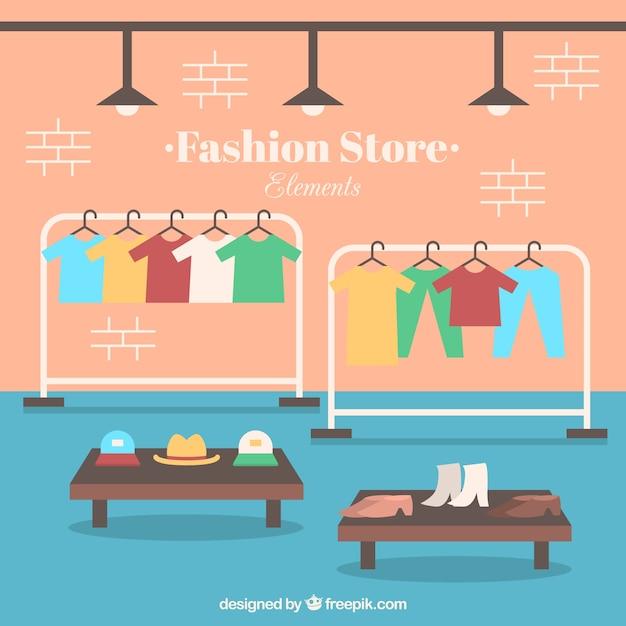 Interior de tienda de ropa en dise o plano con accesorios for Disenos de interiores para boutique